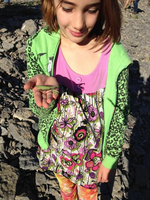 Luna holds a live specimen!