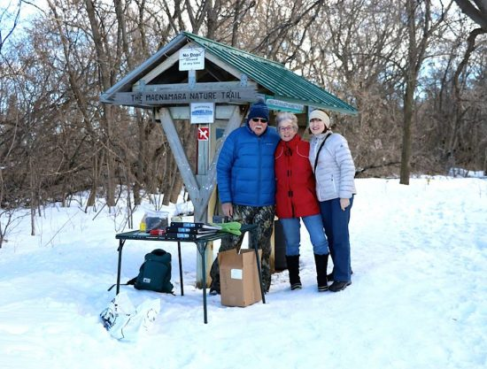 At the Macnamara Trailhead, welcoming trail users on our Family Snowshoe Day