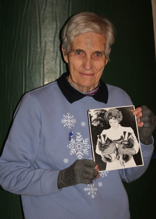 Ann Lambert with badger